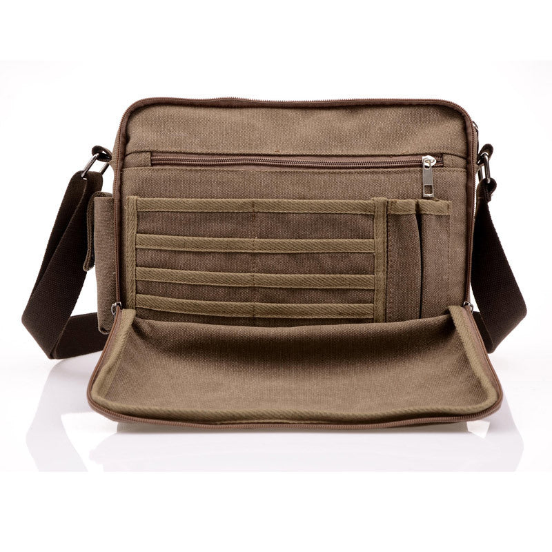 Canvas Messenger Bag Coffee Front Pocket Open