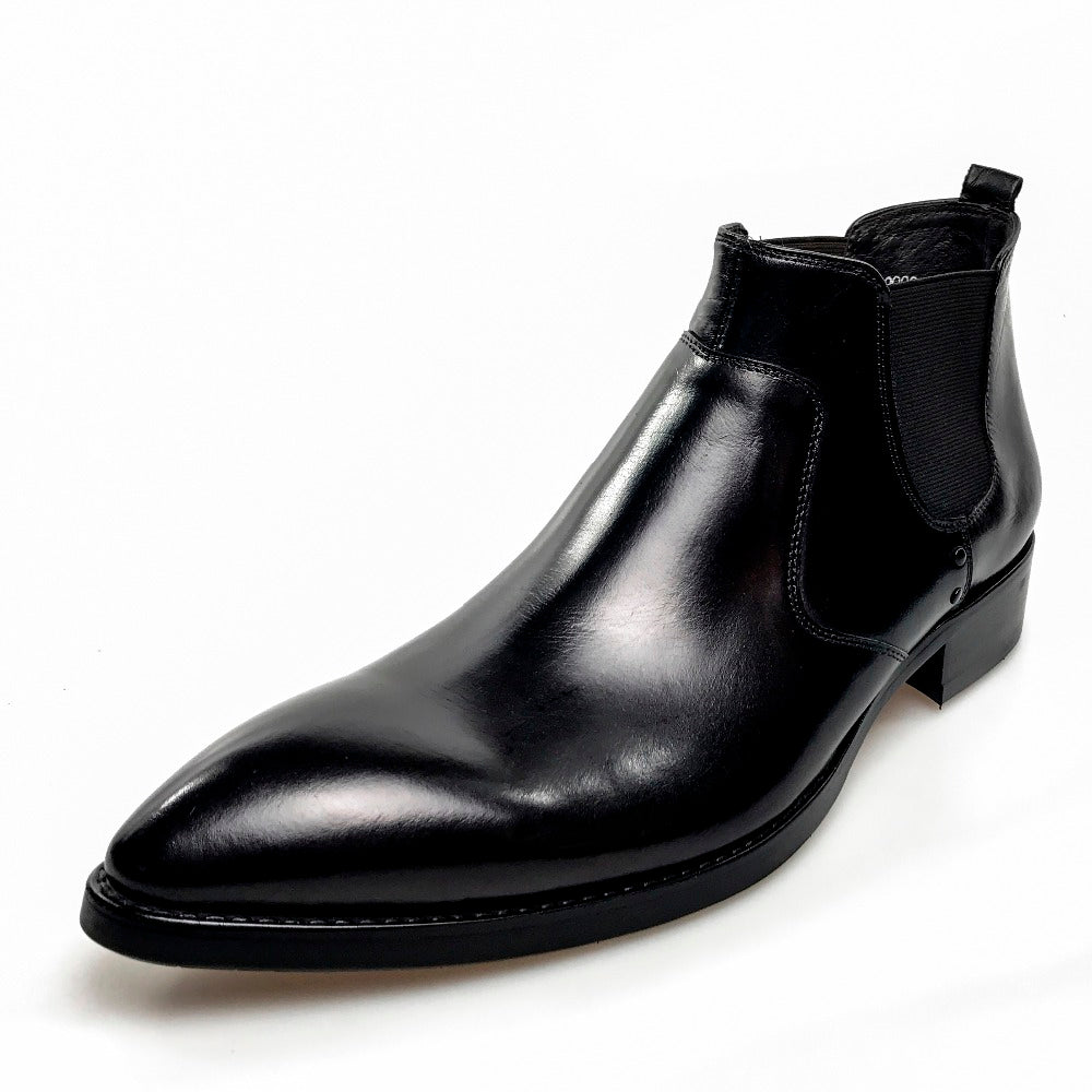 Genuine leather pointed-toe chelsea boot rubber sole