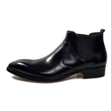 Genuine leather pointed-toe chelsea boot leather lining