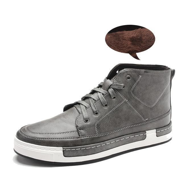 Lace-Up High-Tops with Faux Fur Lining Grey