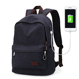 Traditional Style Backpack With USB Charging Port Blue Black