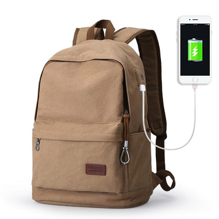 Traditional Style Backpack With USB Charging Port Khaki Metal