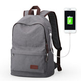 Traditional Style Backpack With USB Charging Port Grey Metal