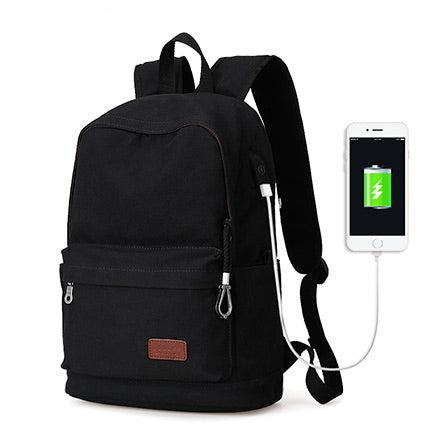 Traditional Style Backpack With USB Charging Port Black Metal
