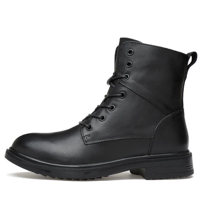 Genuine leather lace-up boot side black