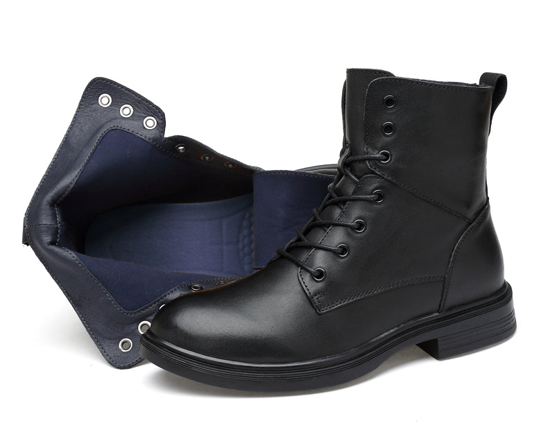 Genuine leather lace-up boot black