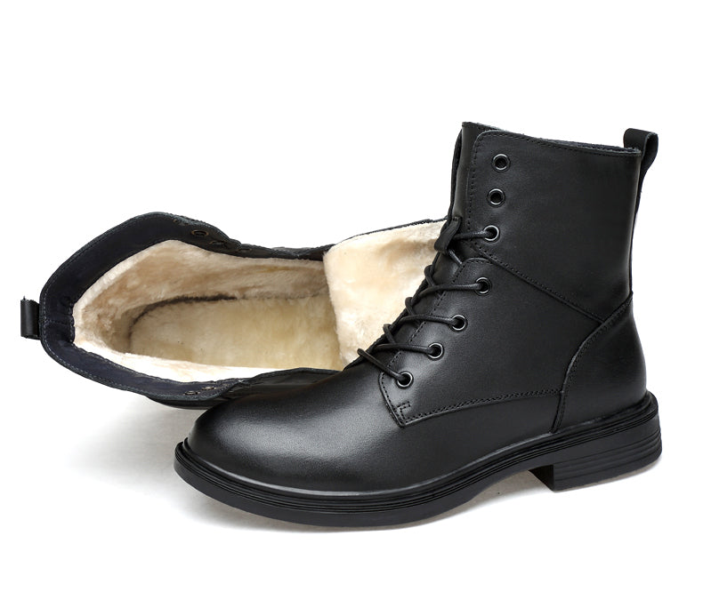 Genuine leather lace-up boot with faux fur lining black