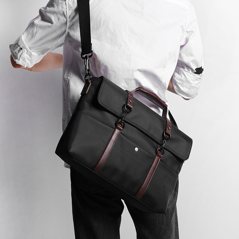 14-inch Waterproof Laptop Briefcase Black Person Carrying Cross Body