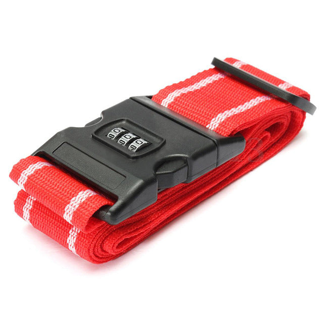 Lockable Luggage Strap Red With White Stripe