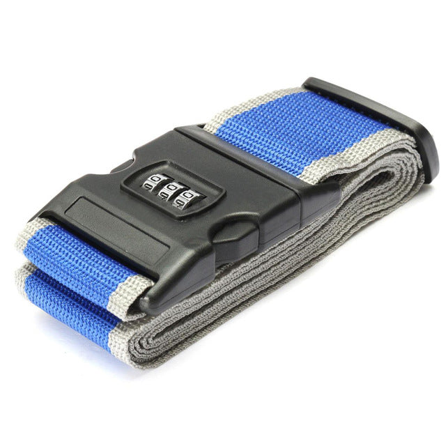 Lockable Luggage Strap Blue With Grey Edge