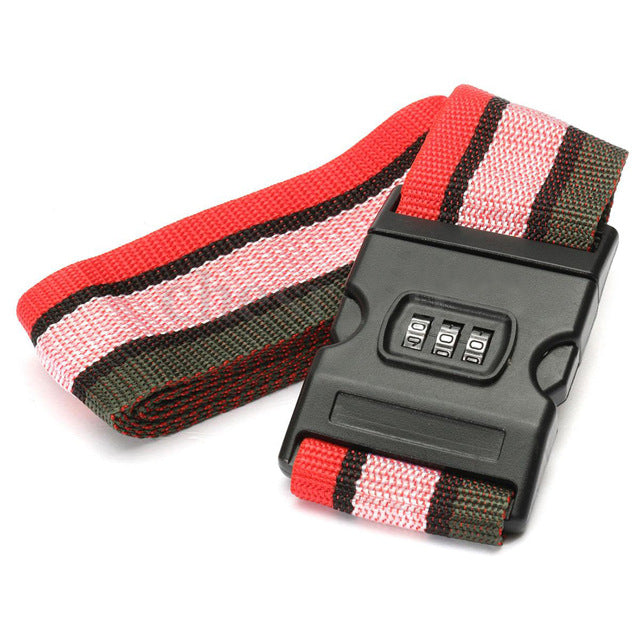 Lockable Luggage Strap Red Pink Grey Stripes