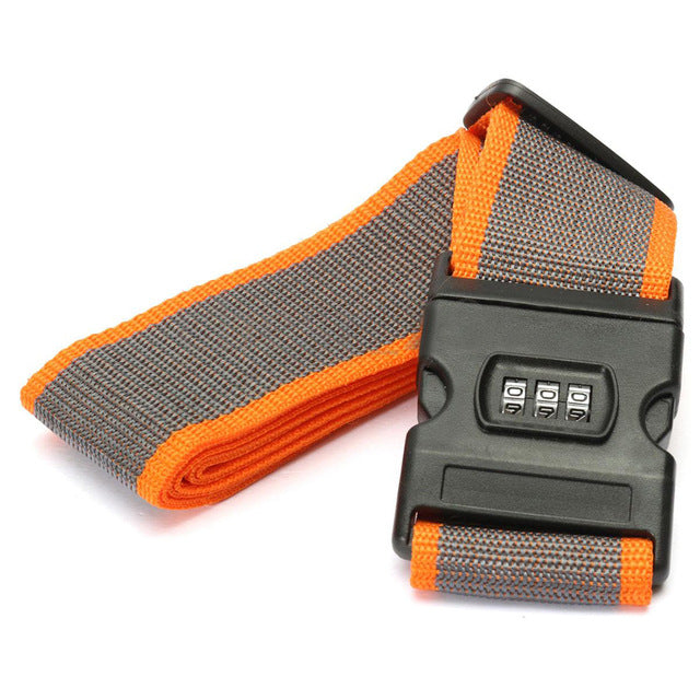 Lockable Luggage Strap Grey With Orange Edge