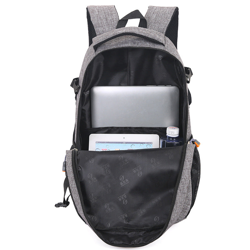 Computer Backpack Grey Open With Packed Items