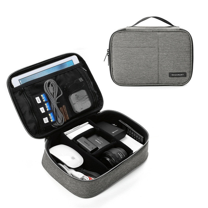Waterproof Digital Accessories Travel Bag Grey With Open View And Packed Items