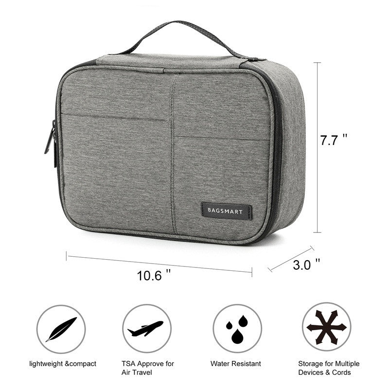 Waterproof Digital Accessories Travel Bag Grey With Dimensions And Features