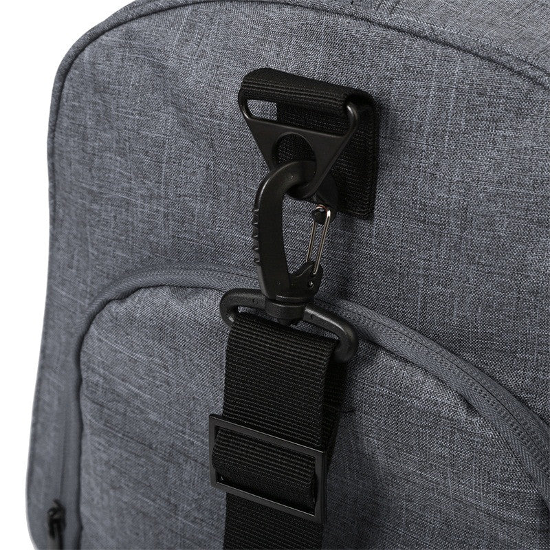 Nylon Travel Duffle Grey With Shoulder Strap Clip Detail