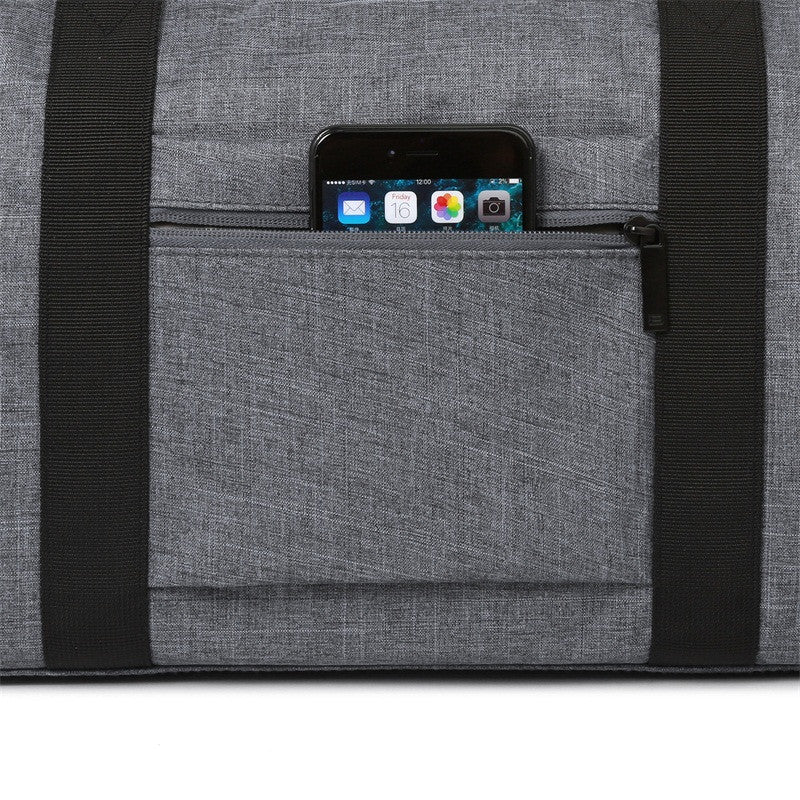 Nylon Travel Duffle Grey Phone Inside Zipper Pocket