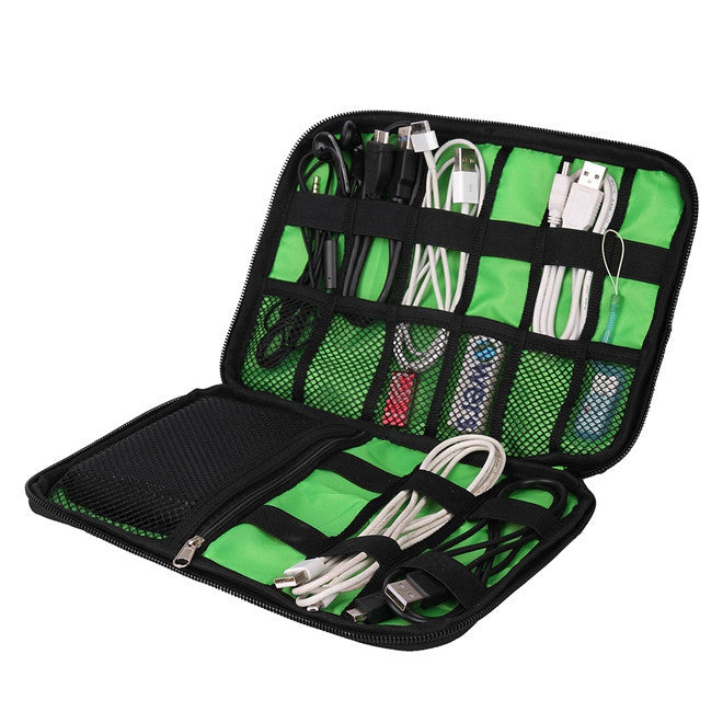 Slim Digital Accessories Organizer Green Open With Packed Items