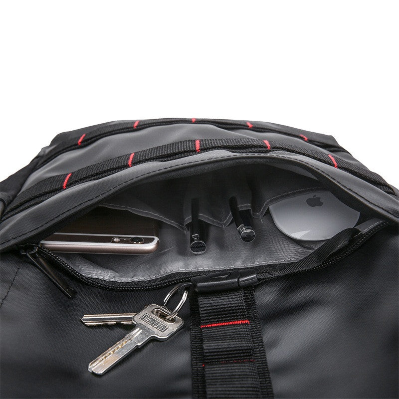 Waterproof Backpack Black Front Pocket Open With Packed Items