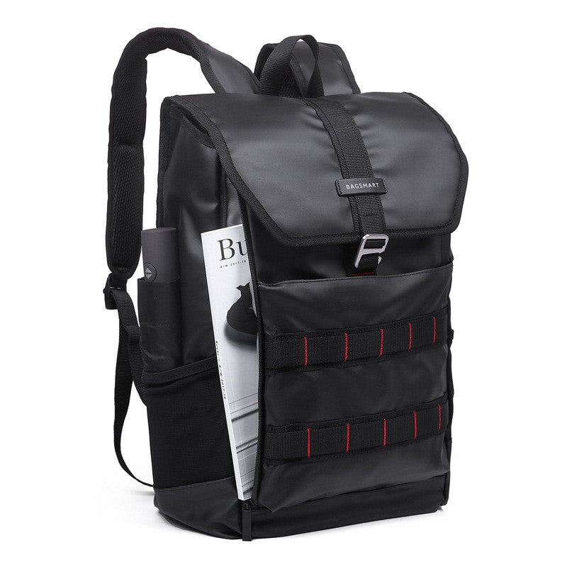 Waterproof Backpack Black Angle With Document Slip Pocket Demonstration