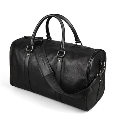 Leather Weekend Travel Bag Black Angle With Shoulder Strap