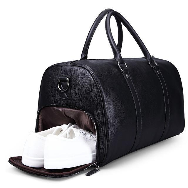 Leather Weekend Travel Bag Black With Shoe Compartment