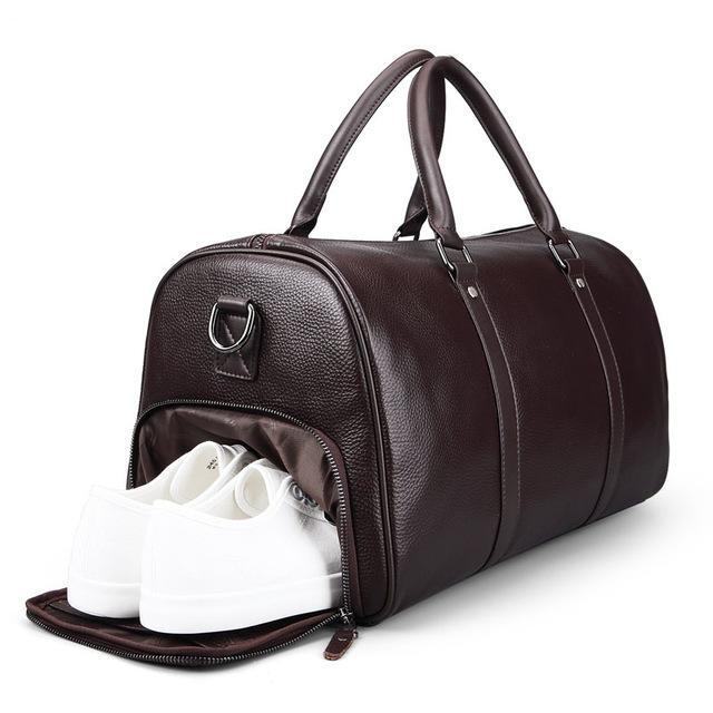Leather Weekend Travel Bag Brown With Shoe Compartment