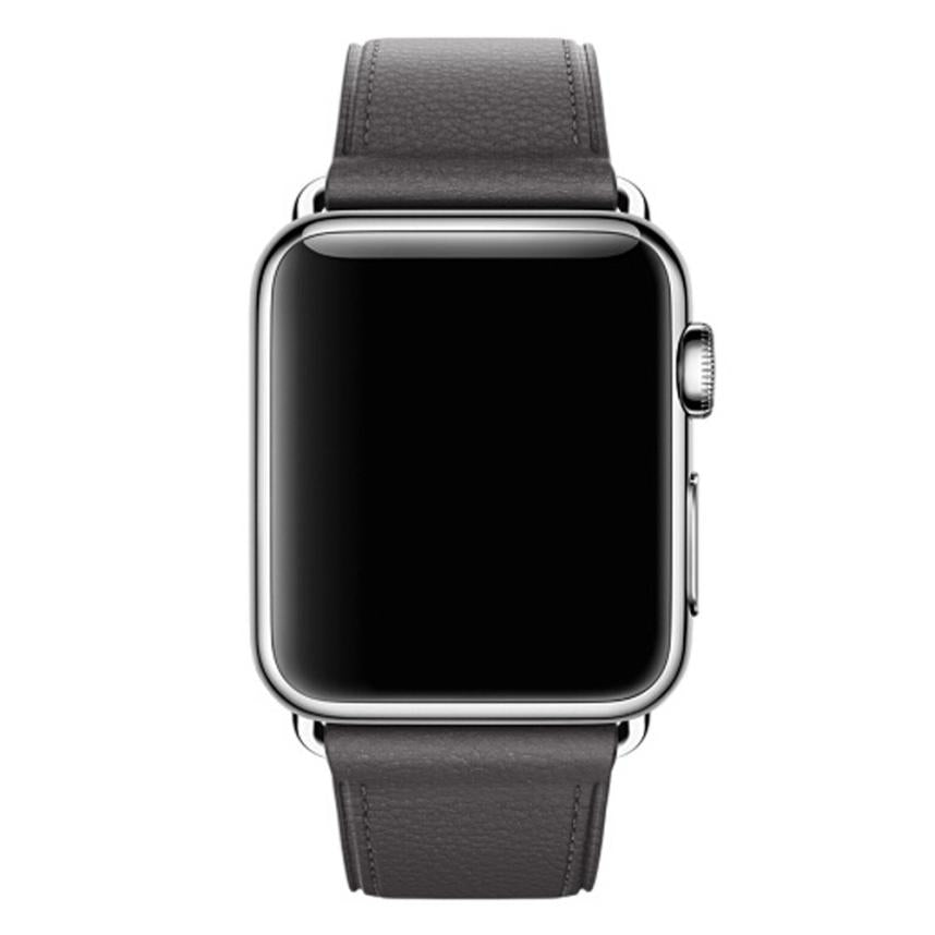 Leather Watch Band for Apple Watch, 38MM Grey Face
