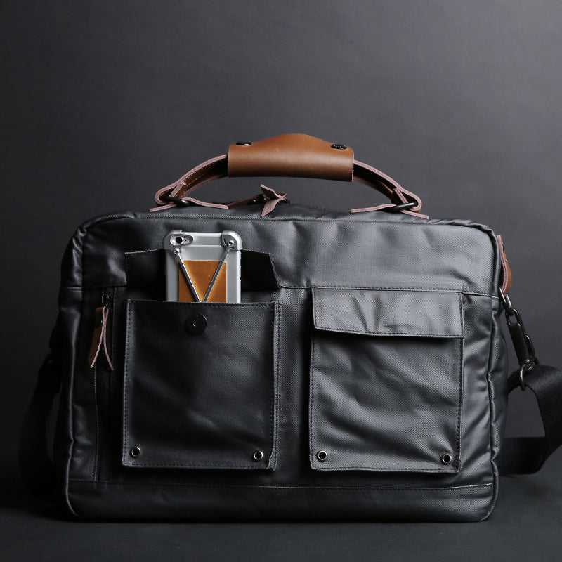 Rubberized Canvas Briefcase Black With External Pockets