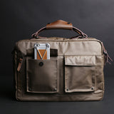 Rubberized Canvas Briefcase Brown With External Pockets