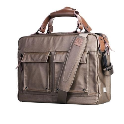 Rubberized Canvas Briefcase Brown