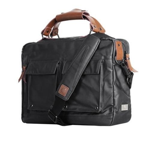 Rubberized Canvas Briefcase Black