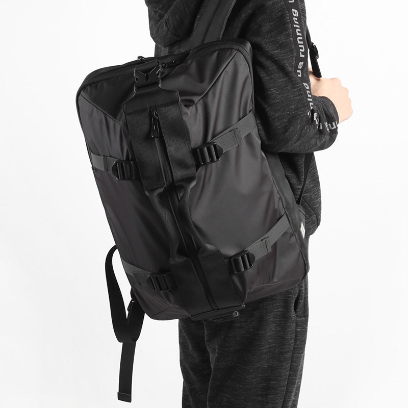 Man Carrying Large Capacity Canvas Backpack Black
