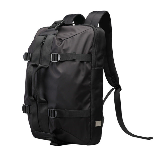 Large Capacity Canvas Backpack Black Side View