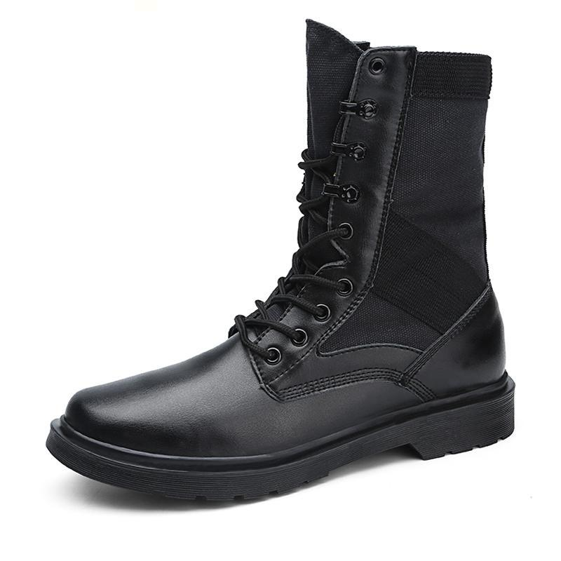 Mid-Calf Lace-Up Boots Black