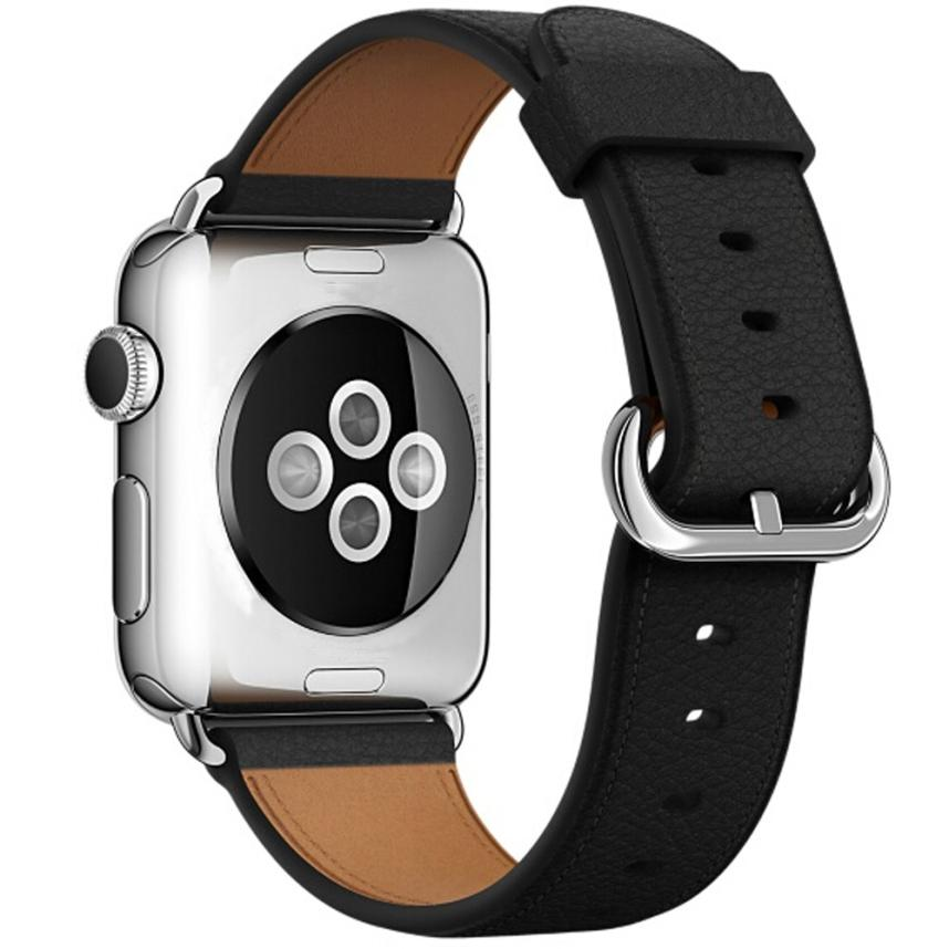 Leather Watch Band for Apple Watch, 38MM Black