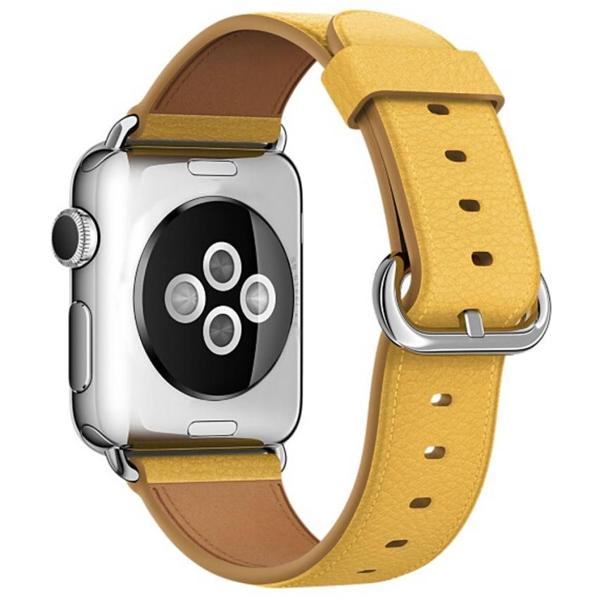 Leather Watch Band for Apple Watch, 38MM Yellow