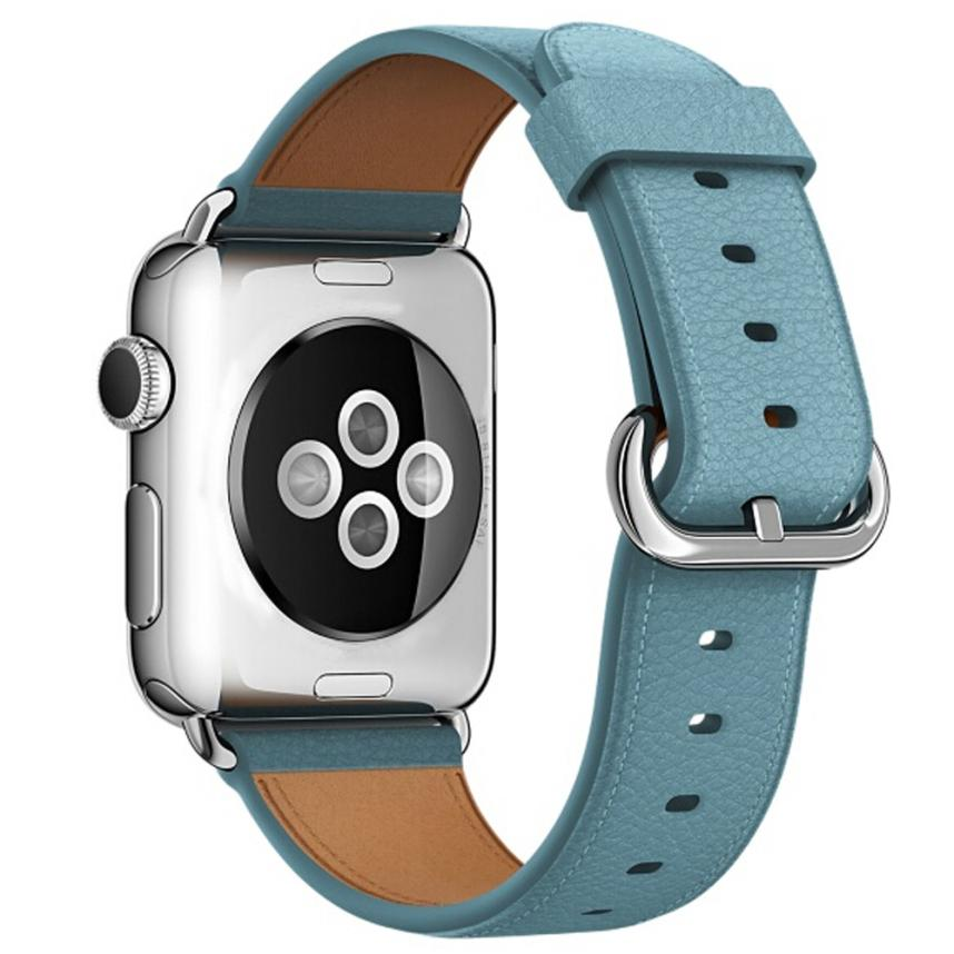 Leather Watch Band for Apple Watch, 38MM Light Blue