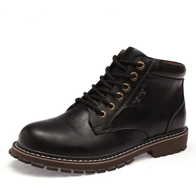 Leather lace-up boot black