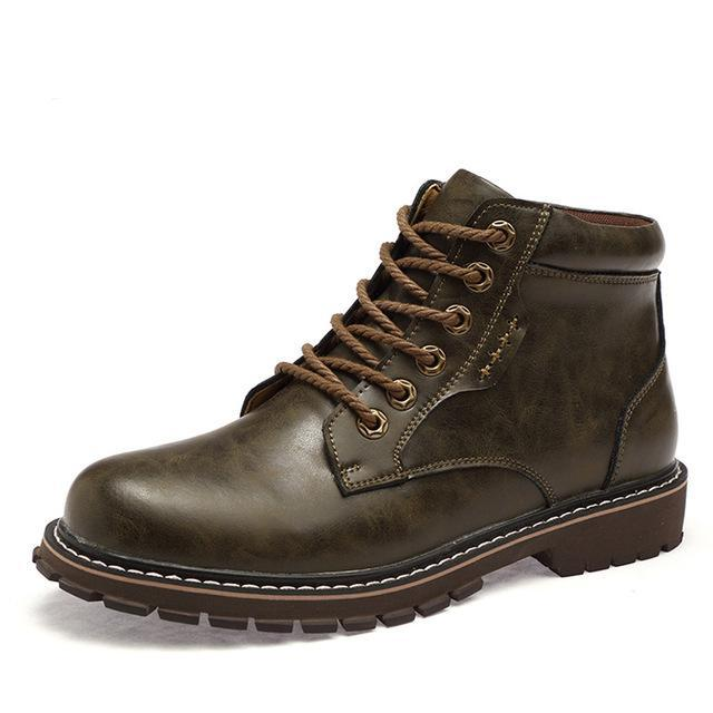 Leather lace-up boot coffee