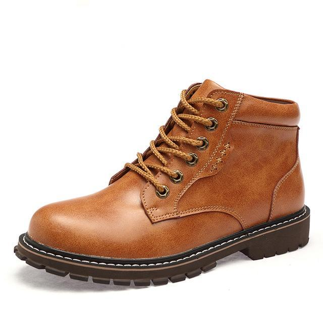 Leather lace-up boot tan