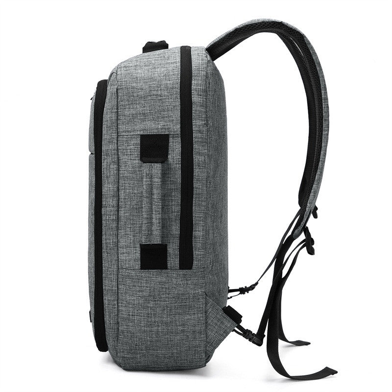 2-In-1 Convertible Travel Briefcase/Backpack Grey Side View