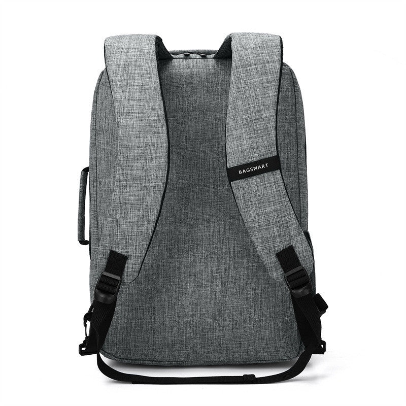 2-In-1 Convertible Travel Briefcase/Backpack Grey Back View