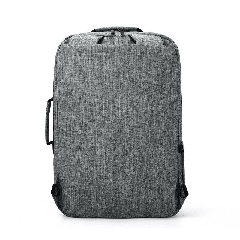 2-In-1 Convertible Travel Briefcase/Backpack Grey Shoulder Straps Hidden View