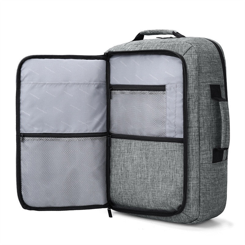 2-In-1 Convertible Travel Briefcase/Backpack Grey With Front Pocket Open