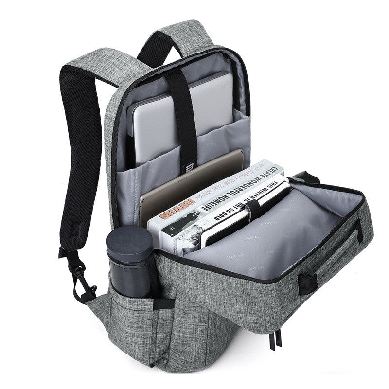 2-In-1 Convertible Travel Briefcase/Backpack Grey Bag Open With Items Packed