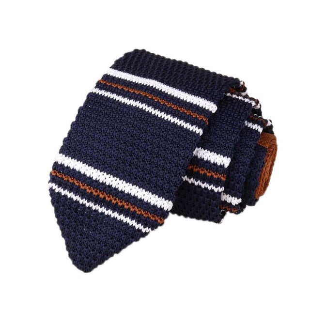 Men's Classic Knit Tie Burgundy Navy Rust White Stripe