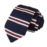 Men's Classic Knit Tie Navy Wine Stripe
