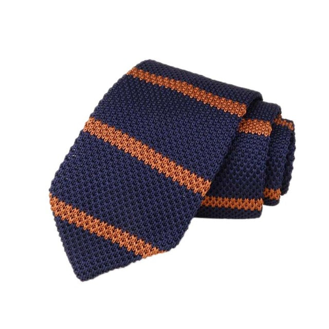 Men's Classic Knit Tie Navy Rust Stripe
