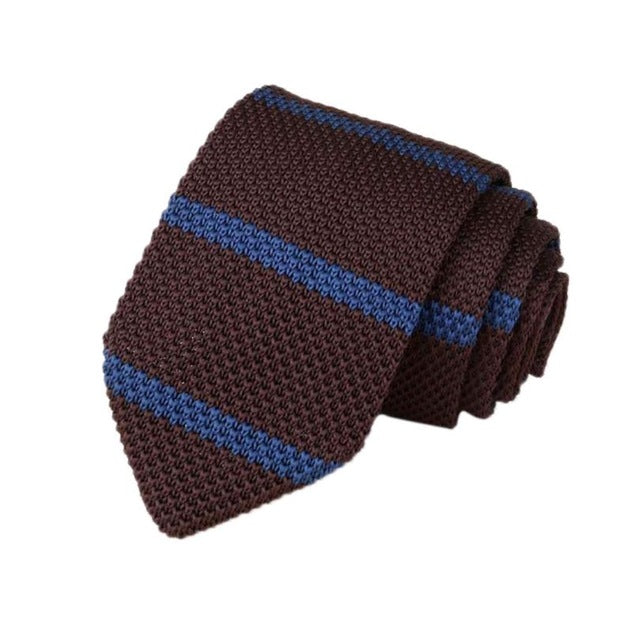 Men's Classic Knit Tie Brown Blue Stripe